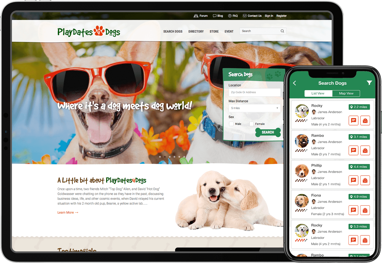 A new website and mobile app design for a dog community